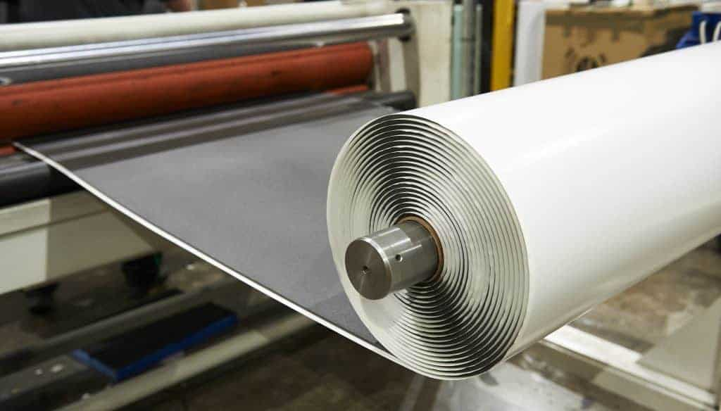 foam sheet roll going through a machine